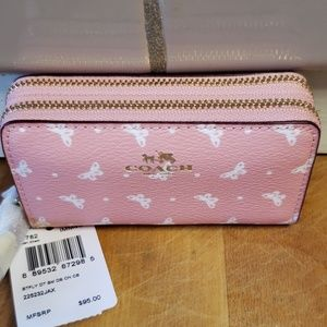 DOUBLE ZIP COIN CASE IN BUTTERFLY DOT PRINT